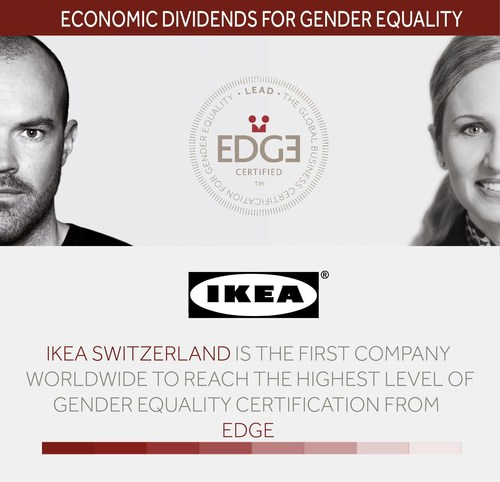 IKEA Switzerland is the first company worldwide to reach highest EDGE certification level for gender equality. (PRNewsFoto/IKEA AG) (PRNewsFoto/IKEA AG)
