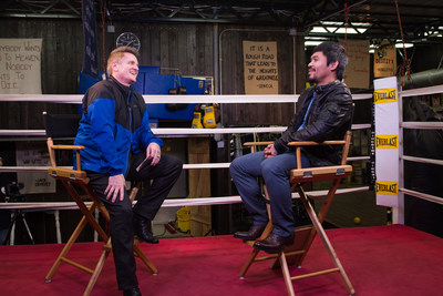 World boxing champ Manny Pacquiao with TBN's Matthew Crouch.