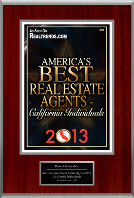 "Rosa A. Gonzalez Selected For ""America's Best Real Estate Agents 2013 - California Individuals.""  (PRNewsFoto/American Registry)"