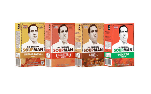 "The Original SoupMan, inspiration for the famous ""soup"" episode on Seinfeld, will introduce new shelf-stable, earth-friendly soup cartons to the soup aisle of major grocers nationwide with the support of Integrated Marketing Services, the shopper marketing division of Advantage Sales & Marketing, LLC.  (PRNewsFoto/SoupMan, Inc.)"