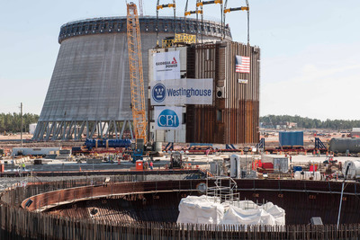 March 10, 2014 - 2.2 million-pound CA20 module placed into Vogtle Unit 3 nuclear island.  (PRNewsFoto/Georgia Power)