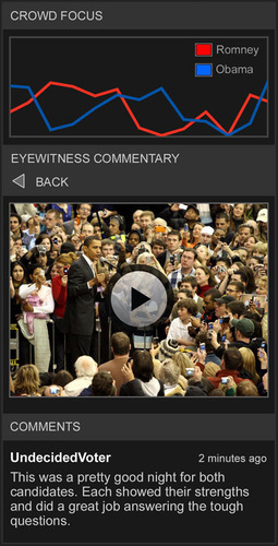 FORA.tv and CrowdOptic power real-time social activity stream of live presidential debate.  (PRNewsFoto/CrowdOptic)