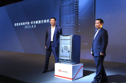 Huawei S12700 series agile switches have been officially launched by Mr. William Xu (left), Chief Executive Officer, Huawei Enterprise Business Group, and Mr. Swift Liu (right), President of Enterprise Networking Product Line, Huawei Enterprise Business Group.  (PRNewsFoto/Huawei)