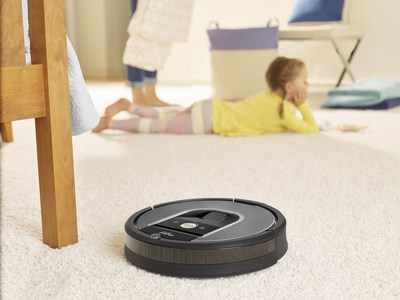 iRobot Roomba 960 Vacuuming Robot helps keep floors cleaner throughout the entire home with intelligent visual navigation, iRobot HOME App control, and 5x the air power over previous generation Roomba vacuum cleaners.