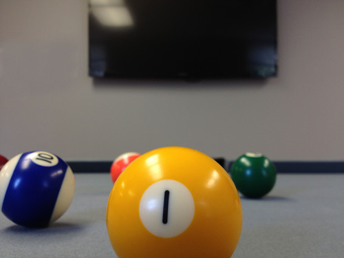 A game of pool is ready to be played on Source One Management Service's new pool table as part of the company's first Charity Pool Tournament, held in Source One's new headquarters in Willow Grove, PA.  (PRNewsFoto/Source One Management ...