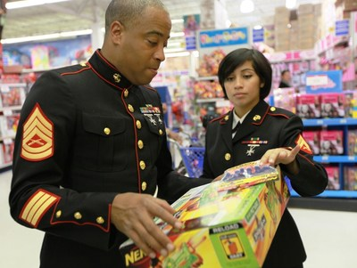 """Toys""""R""""Us stores are proudly welcoming Marine Toys for Tots representatives to officially kick off the season of good will."""