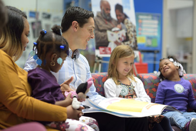 Former Philadelphia Flyers center, Daniel Brière, reads to patients at The Children's Hospital of Philadelphia as part of the 20th anniversary celebration of CHOP's Reach Out and Read Program.