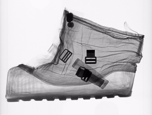 X-ray of an extravehicular (EV) overshoe that was designed to be worn over the Apollo spacesuit boots while an ...
