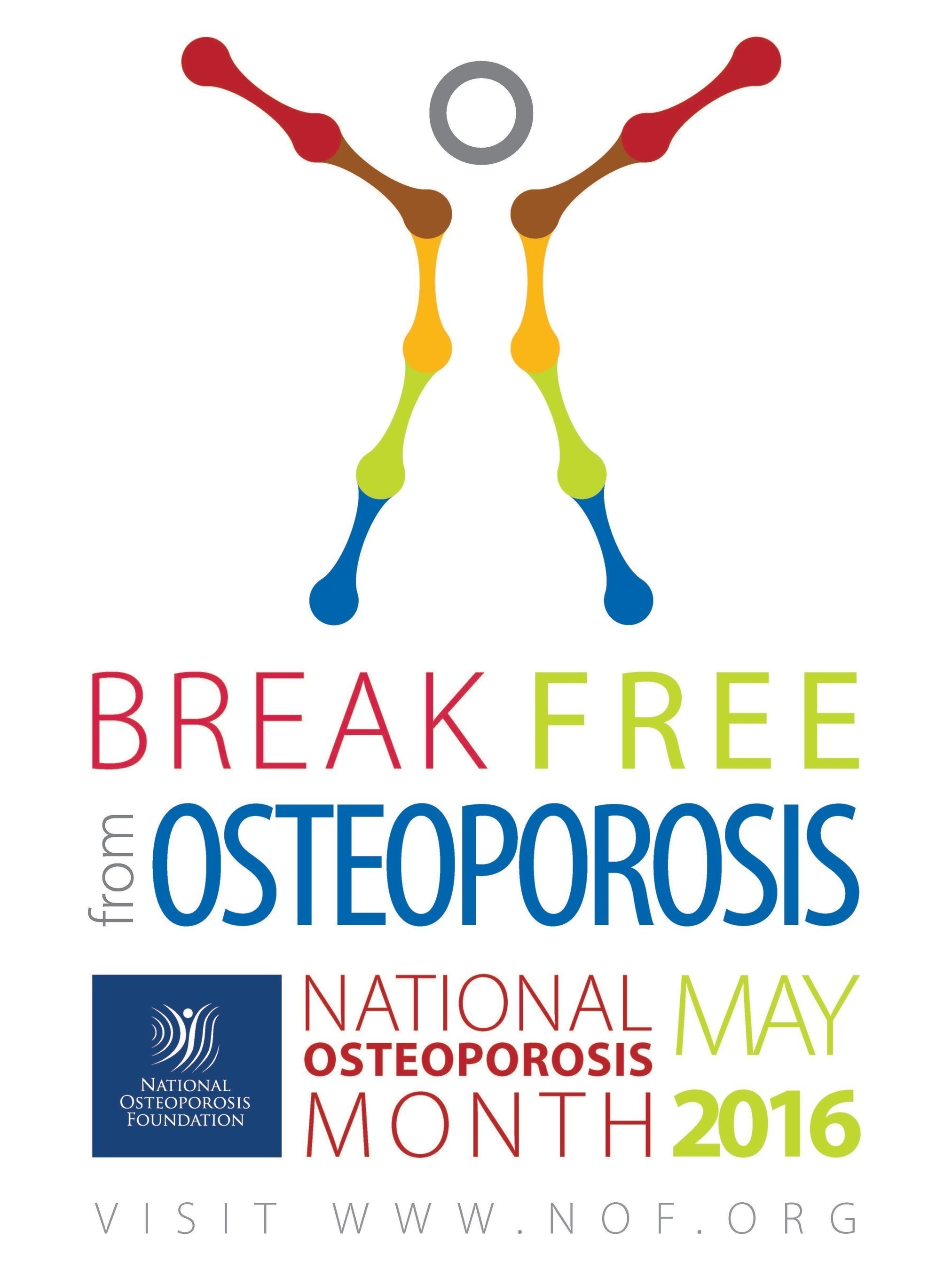 NOF encourages everyone to Break Free from Osteoporosis by getting to know their risk factors and making lifestyle changes to build strong bones for life.
