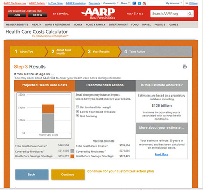 AARP's free online Health Care Costs Calculator sample results. (PRNewsFoto/AARP) (PRNewsFoto/AARP)
