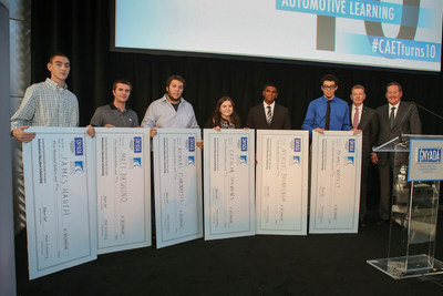 New York City area high school students receive scholarships at the 10th Anniversary of the Center for Automotive Education & Training. From left to right: James Hauth, Matt DaQuino, Nicholas Tsarouhtsis, Cecilia Stevens, Nicholas Bhurasingh, Michael Whitely with Bob Vail, president of the Greater NY Automobile Dealers Association and Nick Toomey, VP Rallye Motors.