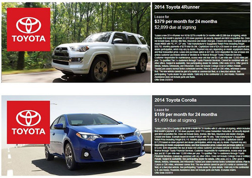 Monthly lease deals available at Toyota of Naperville will be placed in a single place to make it easier for customers to find.  (PRNewsFoto/Toyota of Naperville)