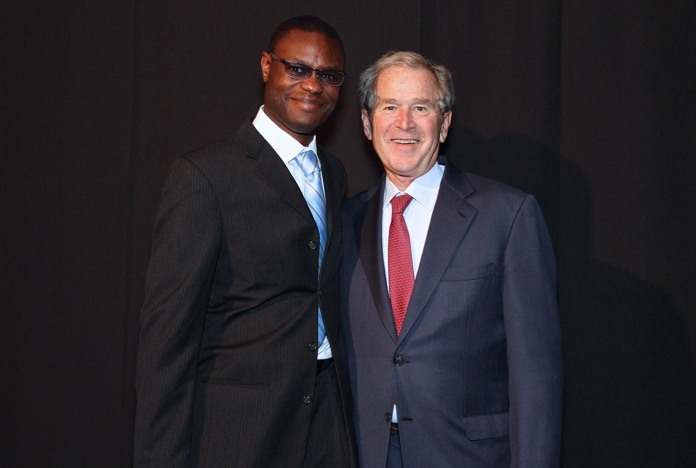 Arthur Wylie (entrepreneur, film producer, philanthropist) and  President George W. Bush at the Inaugural ...