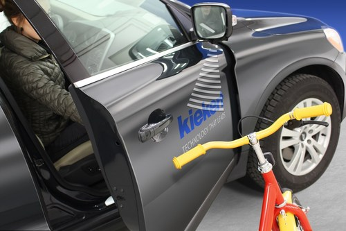 Kiekert's innovative i-protect technology will prevent car doors from unintentionally striking nearby obstacles (PRNewsFoto/Kiekert AG)