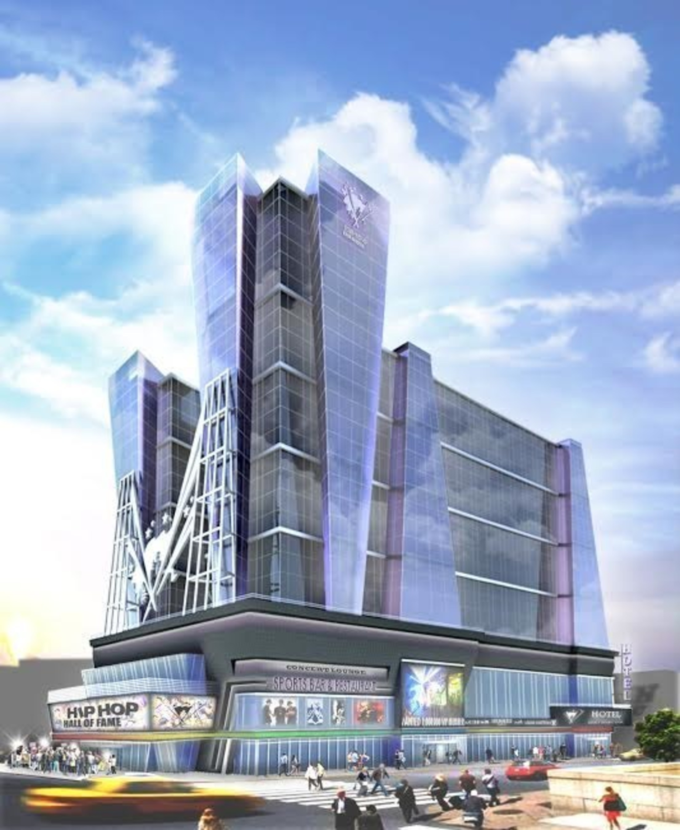 Hip Hop Hall of Fame + Museum & Hotel Entertainment Complex State of The Art Facility Coming to New York City in Manhattan. Daytime view.