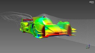 ORECA 05 in the high downforce configuration. ANSYS CFD simulation software displaying the pressure field on the body surface and virtual wind streamlines.