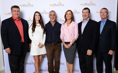 myMatrixx Corporate Relocation Grand Opening - pictured l to r:  Craig Rollins, SVP of Sales & Marketing, myMatrixx; Lindsay Rios, myMatrixx, SVP of Operations, myMatrixx; Steven MacDonald, CEO, myMatrixx; Artemis Emslie, President, myMatrixx; Thomas Cardy, CFO, myMatrixx; Bob McDonaugh, Administrator of Economic Opportunity, City of Tampa