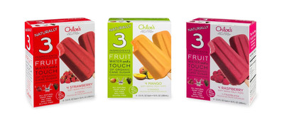 Chloe's Soft Serve Fruit Pops(TM), packaged for retail as 'Chloe's Naturally 3 Pops' come in strawberry, mango and raspberry 4-packs, each pop is 2.5 FL OZ. Made with just three ingredients: real fruit, filtered water and a touch of organic cane sugar, Chloe's Soft Serve Fruit Pops are not your typical frozen fruit bar.  (PRNewsFoto/Chloe's Soft Serve Fruit Co)
