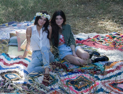"Kendall and Kylie Jenner at photo shoot on Wed., Nov. 14 wearing their new line ""Kendall and Kylie"" ..."