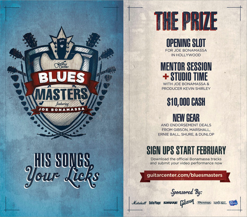 GUITAR CENTER CELEBRATES THE BLUES WITH THE LAUNCH OF GUITAR CENTER'S BLUES MASTERS: THE CHANCE OF A LIFETIME FOR TEN MUSICIANS TO PERFORM FOR RENOWNED BLUES GUITARIST JOE BONAMASSA.  (PRNewsFoto/Guitar Center)