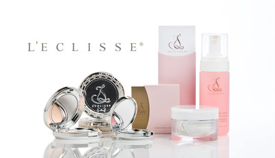 L'eclisse mineral cosmetics and anti-aging skincare products pictured are: Pressed Mineral Foundation, Pressed Mineral Rice Setting Powder, Pressed Mineral Blush, Hyaluronic Advanced Renewal Cream, and Rose Hip Seed Cleansing Foam. (PRNewsFoto/L'eclisse) (PRNewsFoto/L'ECLISSE)