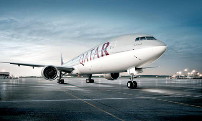 Qatar Airways Boeing 777 aircraft.  (PRNewsFoto/Qatar Airways)