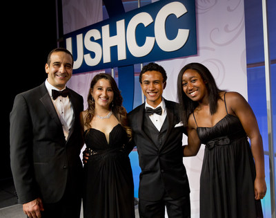 The top three winners of the second annual Liberty Power Bright Horizons Scholarship award were honored at a gala during the United States Hispanic Chamber of Commerce National Convention, which took place in Salt Lake City, Utah September 21 - 23. A total of $18,000 was awarded. From left to right: David Hernandez, co-founder and CEO of Liberty Power; Ileana Delgado, Blane Wilson, and Chelsea Clark, recipients of the Bright Horizons Scholarship. (PRNewsFoto/Liberty Power)