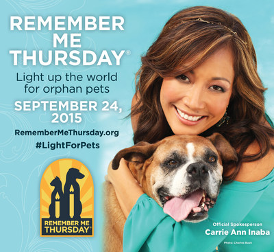 Remember Me Thursday(R) 2015 Official Spokesperson Carrie Ann Inaba with adopted dog, Cookie. Photo credit: Charles Bush