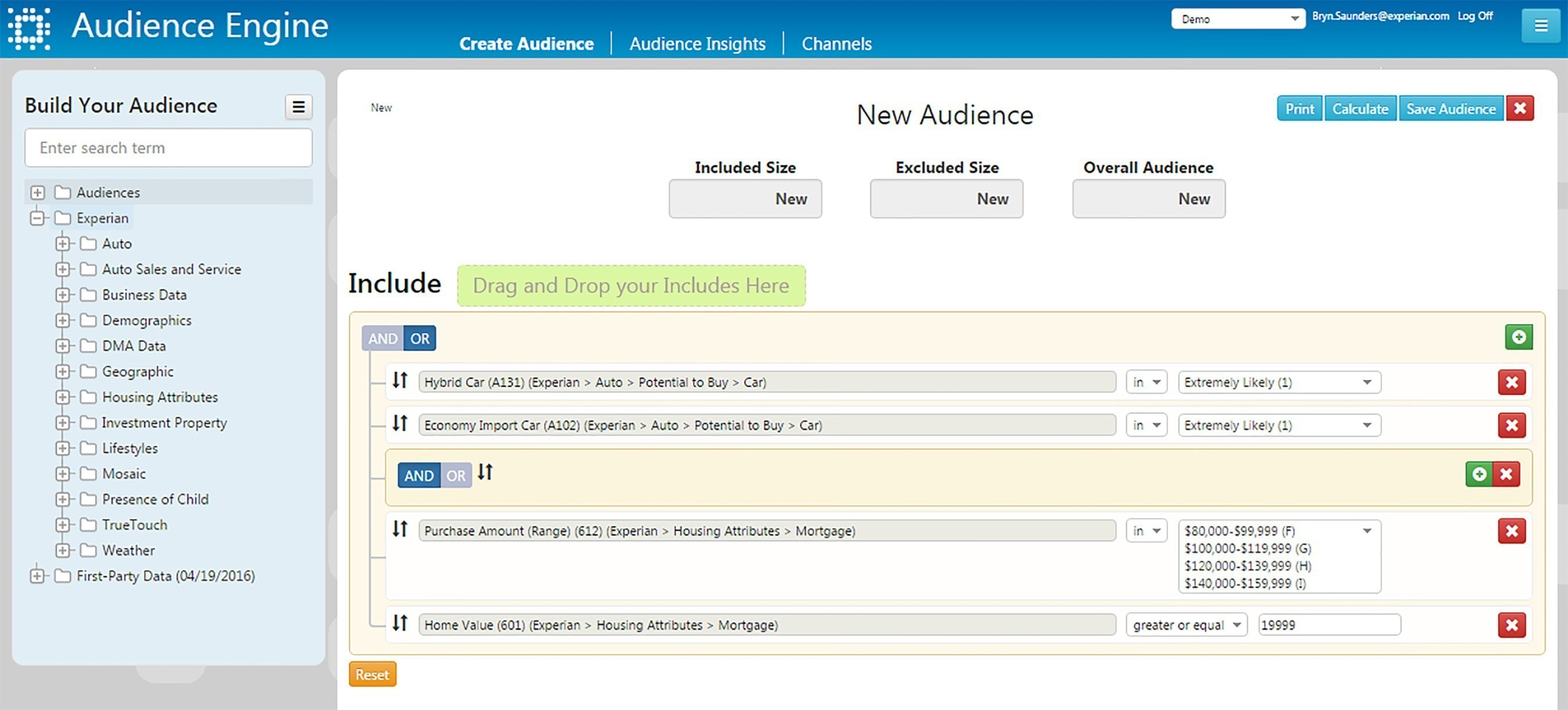 Directly in Experian's new audience management platform, Audience Engine, users are able to create custom audiences by selecting from their customer files and Experian's consumer marketing database (the largest in the world), as well as segments from other unique, emerging data sources. Users see the quantity and scale of the target audience immediately and can export the file within minutes.