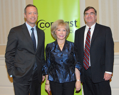 (L-R) Maryland Governor Martin O'Malley and State Superintendent of Schools Dr. Nancy Grasmick joined Comcast Regional Senior Vice President Tom Coughlin at a special ceremony held by Comcast Thursday at the Miller Senate Office Building in Annapolis to recognize Maryland high school seniors receiving scholarships through the company's annual Leaders and Achievers program.  The Comcast Foundation has awarded $106,000 in scholarships to 97 Maryland students this year.  (PRNewsFoto/Comcast)