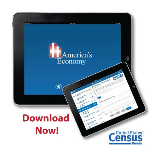The U.S. Census Bureau in cooperation with the U.S. Bureau of Labor Statistics (BLS) today added three key economic indicators to America's Economy, the Census Bureau's widely downloaded mobile app that provides constantly updated statistics on the U.S. economy, including monthly economic indicators and trends, along with a schedule of upcoming releases. These indicators join 16 others that were already available on America's Economy and means that the top four BLS data sets are now included in the app. www.census.gov.  ...