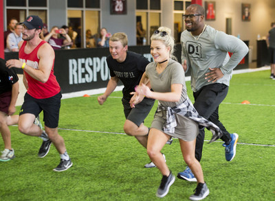 "D1 Co-Owner Von Miller with former ""Dancing With The Stars"" partner Witney Carson and members at the D1 Athlete Experience in College Station."