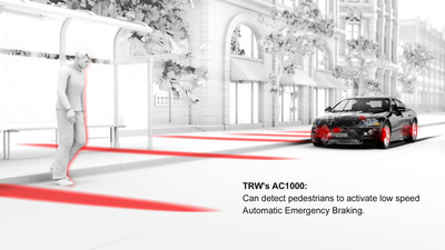 TRW is unveiling a new modular radar platform and next generation camera to deliver advanced safety in an affordable and flexible way to meet the more stringent active and pedestrian safety criteria planned to be introduced by Euro NCAP from 2014 onwards.  (PRNewsFoto/TRW Automotive Holdings Corp.)