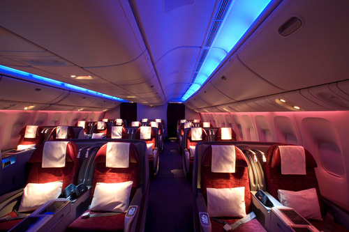 Above: The Business Class cabin onboard a Qatar Airways Boeing 777-300ER.  (PRNewsFoto/Qatar Airways)