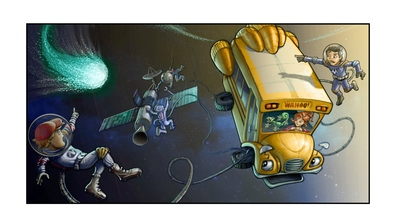 Early concept art for The Magic School Bus 360 degrees, an original new CG animated TV series from Scholastic Media, launching on Netflix in 2016. The series will be a dynamic reimagining of Scholastic Media's groundbreaking and iconic The Magic School Bus, which revolutionized kids' television starting in the 1990s. Early Concept Art (c) Scholastic Entertainment Inc 2014 All Rights Reserved. (PRNewsFoto/Netflix)