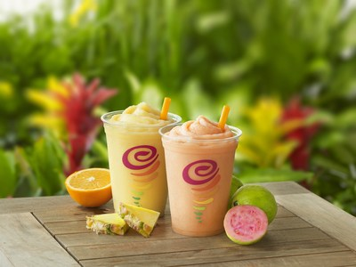 Refreshing, made with exotic real fruit, and bursting with tantalizing tropical flavors, Jamba's Island Getaway Smoothies offer consumers a delicious and tasty way to stay cool and hydrated throughout the warm, summer months.
