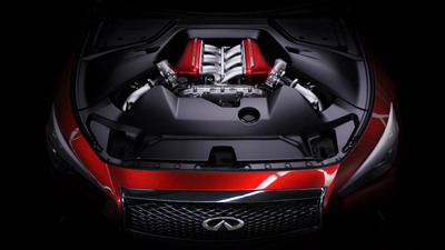 Infiniti Q50 Eau Rouge roars into life - 560-hp engine revealed.  (PRNewsFoto/Infiniti)