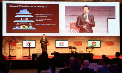 "Mr. Yan Lida, President of the Enterprise Business Group, Huawei, delivered a keynote speech themed ""ICT Enables New Industrial Revolution"""