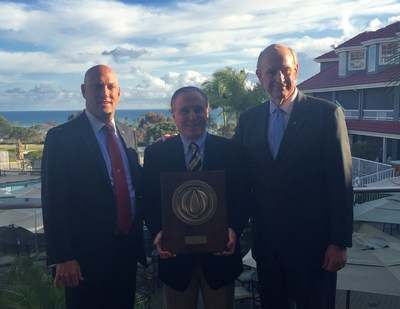 Left to right:  NFSA President Shane Ray, 2016 Golden Sprinkler Award Recipient Kevin Ortyl of Viking, and NFSA Board Chair Larry Thau at the 2016 NFSA Business & Leadership Conference in Dana Point, CA