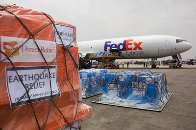 In response to the 2015 earthquake that devastated Nepal, a FedEx plane arrives at Kathmandu airport on Sunday, May 10th, with 60 tons of medicine and medical supplies from Direct Relief.