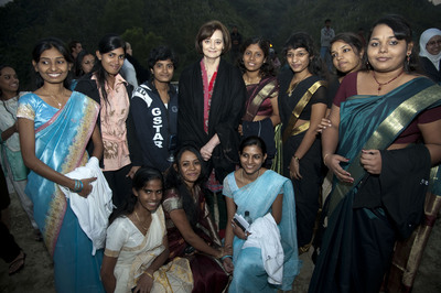 Mrs. Blair with AUW students on the AUW campus site.  (PRNewsFoto/Asian University for Women Support Foundation)