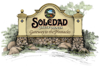A rendering of the two new monuments planned for Soledad's historic downtown to welcome visitors on their way to Pinnacles National Park.  (PRNewsFoto/Ford & Bonilla)