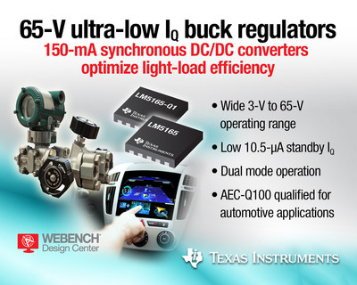 65-V micro-power buck converters from Texas Instruments feature industry's lowest quiescent current
