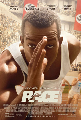 "MPAA-rated ""PG-13,"" RACE stars actor Stephan James as Jesse Owens, and will be released nationwide by Focus Features on February 19."