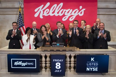 Craig Bahner, President of U.S. Morning Foods at Kellogg Company, rings the opening bell at the New York Stock Exchange (NYSE) to celebrate the opening the company's first-ever permanent cafe: Kellogg's NYC. The cafe - which opened for business on Monday, July 4 in the heart of Times Square - features delicious, artisanal dishes made with Kellogg's cereals and unique ingredients in fun and surprising combinations.