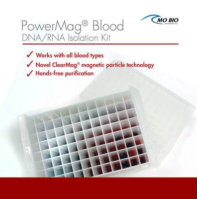 MO BIO Laboratories, Inc. launches the PowerMag Blood DNA/RNA Isolation Kit.