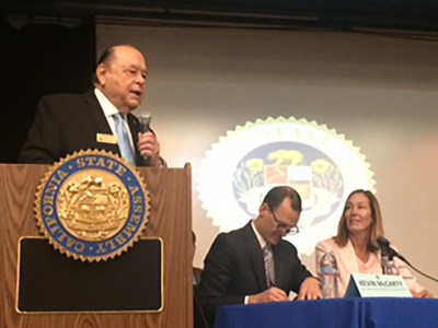 LR - VCCCD Chancellor Bernard Luskin welcomes Assemblymember Kevin McCarty and Assemblymember Jacqui Irwin during the budget hearing held at Oxnard College on Friday, February 5, 2016.