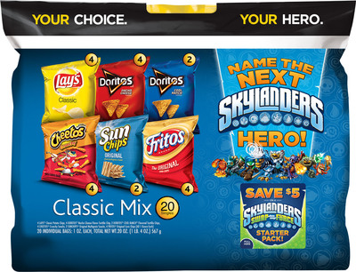 For the first time, Frito-Lay and Activision are providing fans with the unique opportunity to choose and name a new hero that will appear in the next Skylanders game slated for release in 2014. The winner will receive a $100,000 scholarship. To celebrate the promotion, specially marked Frito-Lay variety packs (pictured here), available for purchase while supplies last at participating retail stores nationwide, will include coupons for select Skylanders products; details on the entry and voting phases of the promotion.  (PRNewsFoto/Frito-Lay North America)