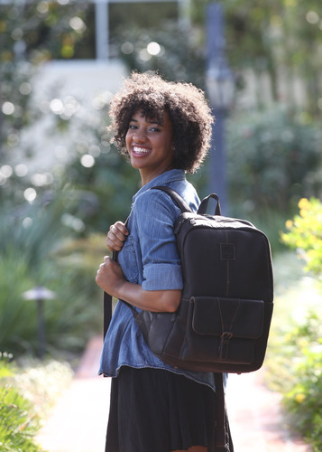 The Hemingway Leather Laptop Backpack by Jill-e Designs is a unique new take on a familiar favorite, with a ...