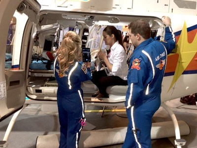 Helen Skinner demonstrates Clarius in an EMS helicopter